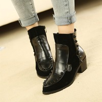 Fashion 2013 pointed toe boots rivet boots martin boots fashion boots
