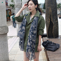Polka dot scarf female autumn and winter silk scarf blue and white porcelain fluid scarf cape dual
