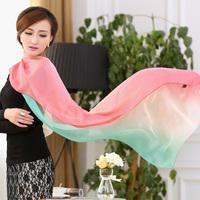 3 scarf female silk scarf female thin gradient design long scarf chiffon sun cape