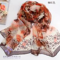 Four seasons leopard print silk scarf georgette chiffon print silk scarf female sun-shading cape