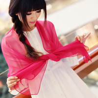 Candy color silk scarf solid color scarf summer chiffon georgette women's sunscreen cape