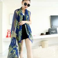 Fashion chiffon print silk scarf cape plus size measurement scarf