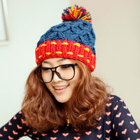 Hat female autumn and winter handmade fashion color block hair balls knitted hat ear cap knitted hat