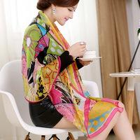 Plus size measurement scarf spring and autumn chiffon print silk scarf women's chromophous georgette