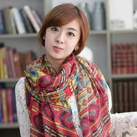 Fashion ultra long print silk scarf autumn and winter scarf muffler rustic women's silk scarf dual use scarf