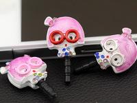 Cartoon pink red glasses girl  for iphone   4s 5htc alloy 3.5mm mobile phone headphones general dustproof plug