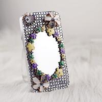 Full rhinestone mirror iphone4s5 rhinestone fashion fresh flower phone case