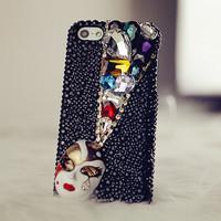 Multicolour gem mask a30 high quality  for apple   4s 5 black diamond  for SAMSUNG    for htc   millet 1 s2 black phone case set