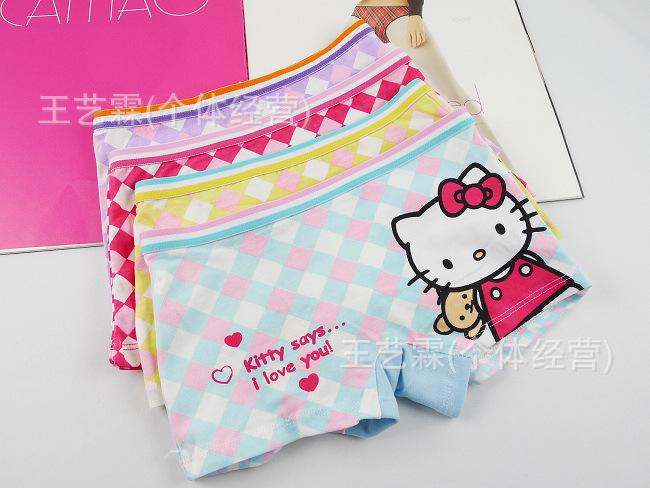 Free Shipping Baby Briefs Cute Cartoon Hello kitty Pants Children's Underwear 12/Lot 4siz 100% Cotton Absorb Sweat Keep Dry(China (Mainland))