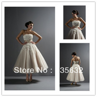 Strapless Elegant  A Line Champagne Wedding Dresses Applique Lace Short  Anke length  Free shipping  wedding Bridal gowns A276