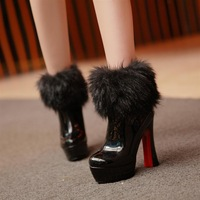2013 platform ultra high heels female boots japanned leather platform back zipper thick heel boots