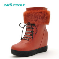 2013 snow boots platform boots fashion medium-leg boots rabbit fur