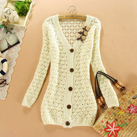 2014 Summer Pure Color Bow Hollow Cardigan Sweater Shirt Women Crochet Knitting Blouse Long Sleeve V-neck Women Sweater Jackets
