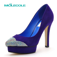 2013 autumn blue rhinestone sexy pointed toe nubuck leather high-heeled single shoes