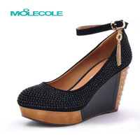 Moolecole 2013 autumn high-heeled wedges rhinestone single shoes fashion platform female