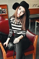 2013 autumn lace embroidered patchwork long-sleeve slim stripe sweater