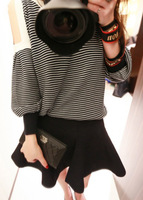 2013 autumn sweet strapless stripe color block decoration loose long-sleeve T-shirt bust skirt set twinset