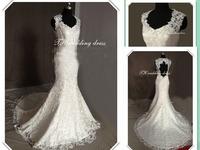 NEW 2014 mermaid Full lace high tailing luxury diamond a retro fish's wedding Dresses Princess fishtail tail halter