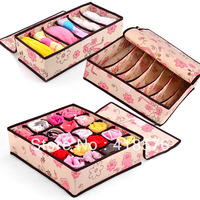 3pcs/lot Free shipping cheap Lovely design household storage underwear, bra,socks, storage boxes case with a cover organizers