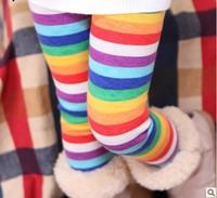 free shipping children's colorful pants autumn and winter 2013 stripe plus velvet girl's legging child boot cut jeans