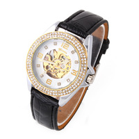 1pcs Crystal Hour Skeleton Mechanical Watch Winner Black PU Belt for Women Dress Watches Unisex Men's Wristwatches
