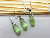 Silver Jewelry Sets 100% Guaranteed Solid 925 Sterling Silver Jewelry With Water Drop Opal Stone YH023