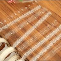 Free ship DIY decorative tape cute transparent lace tower tape 10m japanese Masking Tape wedding for adhensive tape 100pcs