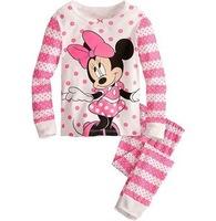 Children's  pajamas suit set baby girls Minnie Pyjamas suits Kids pjs pink shirts+ striped pants hello kitty 6sets/lot XC-189