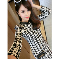Leather turn-down collar black and white small houndstooth knitted long-sleeve basic one-piece dress Free shipping