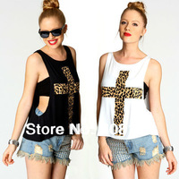 TAHA2020 Free shipping sexy fashion leopard women Top Tees print cross pattern lady loose vest T-shirts tube top twinset