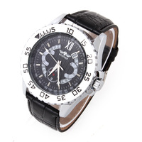1pcs Winner Auto Mechanical Watch Tachymeter Date Sports watch Steel Case Men's Luxury brand Watches Black PU Strap