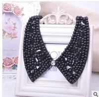 Min order is 10usd ! 100% Handmade Fahion Fabric Black bead collar Bohemia  Flower   candy choker neckalce ! free shipping!