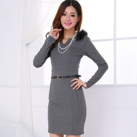 2013 autumn and winter women women's ol elegant long-sleeve V-neck slim one-piece dress