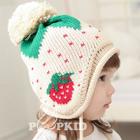 2013 winter yarn strawberry cap baby ear protector cap baby hat warm hat child hat thickening cap