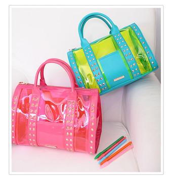 Momo couture candy color PU patchwork BOSS portable pvc transparent bag