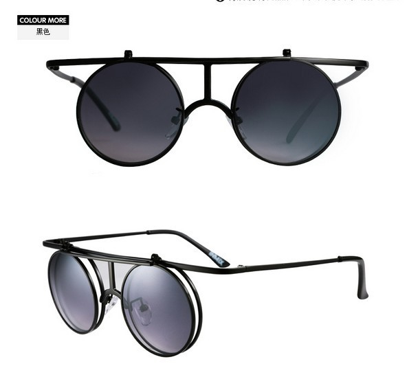 2013 Free Shipping 1PC 35g Metal Round Frame Sunglasses Punk Glasses Renovate Brand Sun Glasses(China (Mainland))