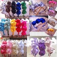 "triple1.5"" Mini Satin Roses Flowers Heads Rosette Flowers For Hair Ribbon Rose on a headband 20pcs/lot free shipping"