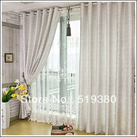 free shipping,1.4m*2.5m polyester jacquard curtain,finished bedroom curtain,beautiful grey balcony curtain,customizable