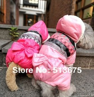 Free Shipping 2013 HOT Fashion 2XL Pet Clothes Dog puppy four-leg Coat Cotton-padded jacket with Bow 2 color option XXL