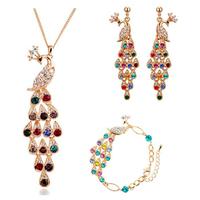 Wholesale 18K gold plated austrian crystal beauty of the peacock women wedding necklace/earrings/bracelet fashion jewelry sets