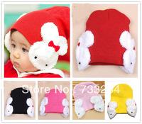 Hot Sale Free Shipping 2013 Autumn Winter children kid's Lovely Rabbit hat Earflap Caps Boys Girls Christmas Gift