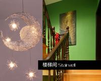 Moon & Stars pendant light personalized modern bedroom lamp child pendant lamp ceiling lamp - G4 *5PCS beads 110V 220V