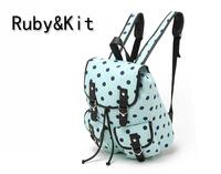 Ruby kit fresh quietly elegant polka dot water blue women's canvas backpack handbag 530g