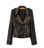 2012 long sleeve lapel rivets PU leather motorcycle jacket blouses Free shipping