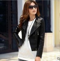 2013 Autumn New Arrival Coat Punk Unique Cool Motor Wear Special Designed Zippered  PU Jacket Turn Down V-neck Coat