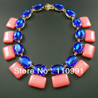 New Unique Exaggerated Choker Bib Chunky Pink Blue Crystal Statement Classic Custom Fashion Necklaces Jewelry for women