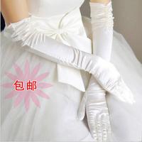 Wedding gloves bridal gloves white beige long design double beads gloves married gloves winter
