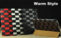 Warm Style Plush Checkerboard PU Leather Stand Case For Apple iPad mini