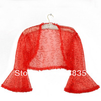 [Real Photos] Lace Bridal shawl Wedding Wraps Jacket Long sleeve bolero red/ivory Custom Made