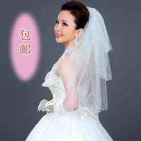 The bride wedding dress the wedding veil short design pearl style yarn 80cm long veil